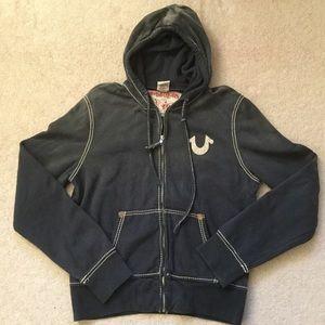 True Religion Vintage Wash Gray Full-Zip Hoodie